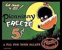 "An offensive, stereotypical  ""pickaninny"" image of black children, popular in early 20th century ads."
