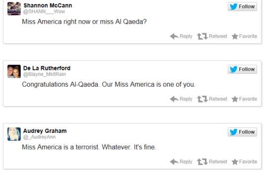 miss america terrorist tweets